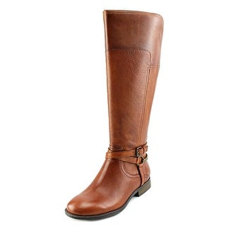 Marc Fisher Alexis Wide Calf Women Round Toe Leather Brown Knee High Boot