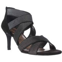 SC35 Seleste Elastic Strap Dress Sandals, Black/Silver