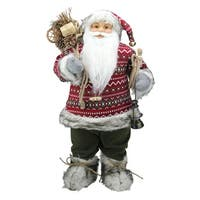 "24"" Nordic Standing Santa Claus Christmas Figure with Snow Sled and Gift Bag - RED"