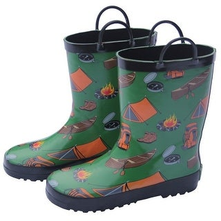 Foxfire Little Boys Green Camping Print Pull On Handle Rain Boots