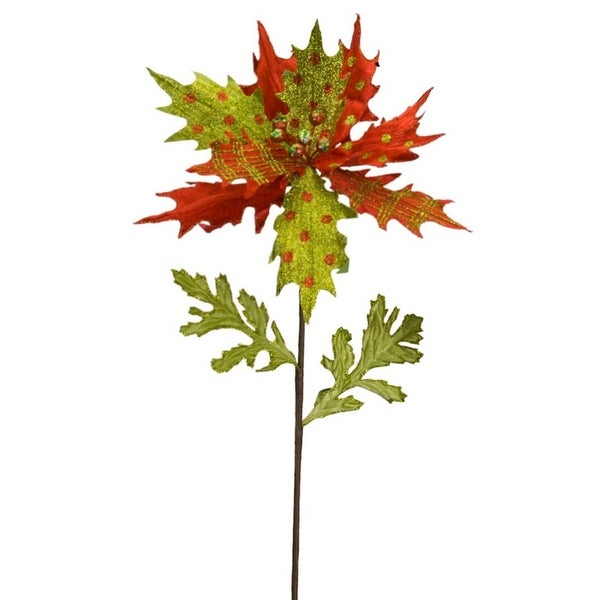 Club Pack of 12 Mixed Red and Green Pattern Leaf Pointsetta Stem 20""