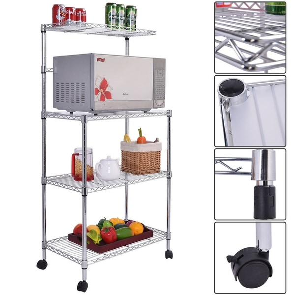 Costway 3 Tier Kitchen Bakeru0026#x27;s Rack Microwave Oven Stand Storage Cart