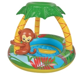 "40"" Inflatable Baby Swimming Pool with Palm Tree Sun Shade and Monkey"