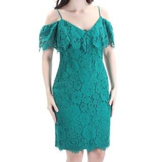 Womens Green Floral Spaghetti Strap Knee Length Sheath Formal Dress Size: 6