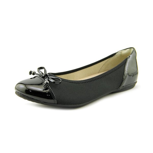 Stretchies Claire Women W Cap Toe Synthetic Black Flats