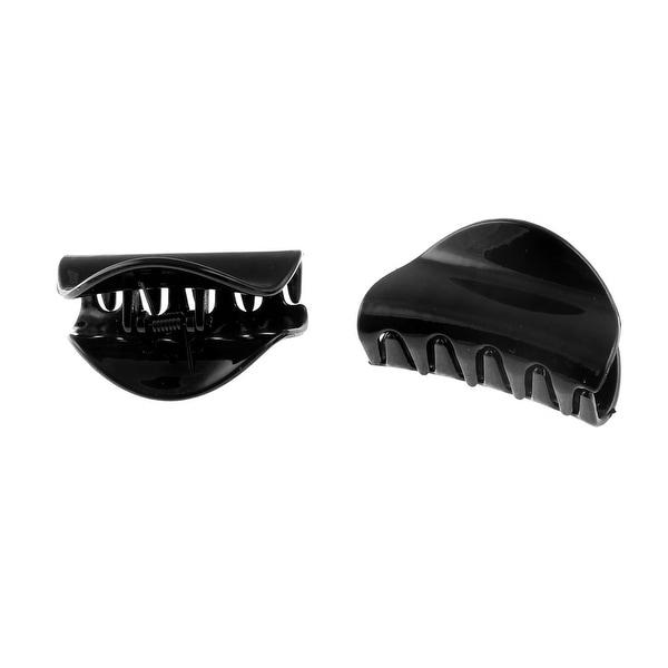 Unique Bargains Lady Women 65mm Length Plastic DIY Craft Hair Claw Clip Clamp Grip Black 2pcs