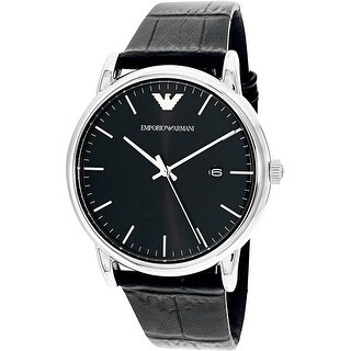 Emporio Armani Men's Black Leather Quartz Dress Watch