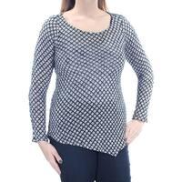 Womens Black White Geometric Long Sleeve Jewel Neck Sweater  Size  L