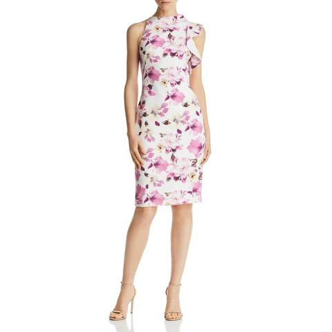 Black Halo Womens Pabla Cocktail Dress Floral Ruffled - Faded Floral