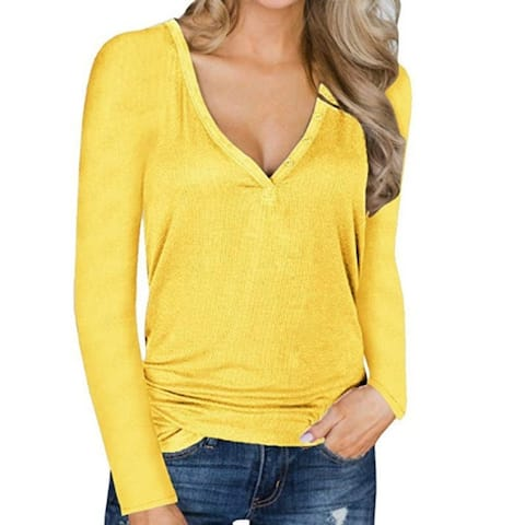 New Long Sleeve Button V-Neck Burst Top Sexy Sweater