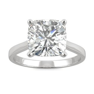 Link to 3.30ct Moissanite Cushion Solitaire Engagement Ring in 14k Gold Similar Items in Rings