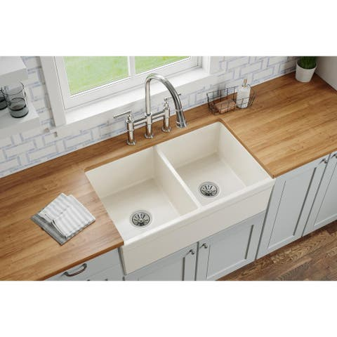 "Elkay Fireclay 33"" x 19-15/16"" x 9"", Equal Double Bowl Farmhouse Sink"
