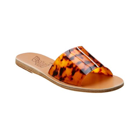 Ancient Greek Sandals Taygete Vinyl & Leather Slide