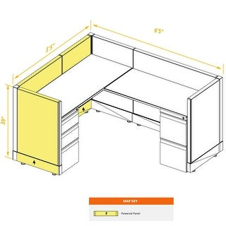 System Furniture 39H Powered (5x6 - White Desk White Paint - Assembly Required)