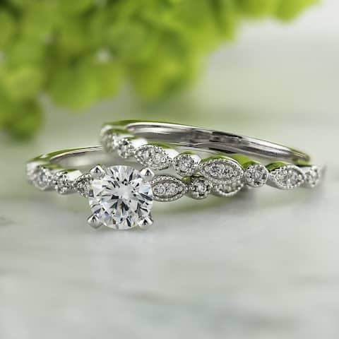 Auriya 14k Gold 4/5ctw Vintage Inspired Diamond Engagement Ring Set