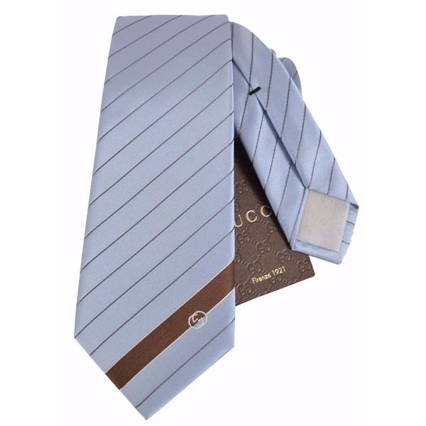Gucci Men's 408866 Sky Blue Malo Woven Silk Interlocking GG Striped Neck Tie