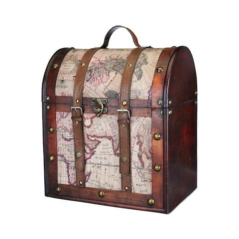 "6 Bottle Old World Wooden Wine Box by Twine - 15.25"" x 13"""