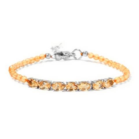 Shop LC Platinum Over Citrine Bracelet Size 8 Inch Ct 10.8 - Bracelet 8''