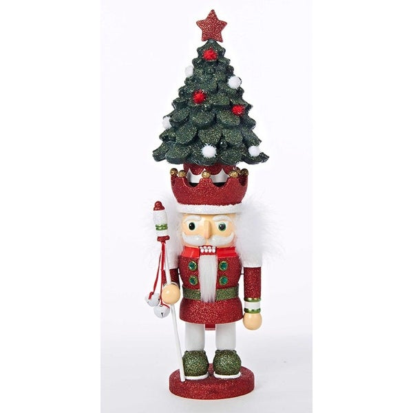 "19"" Hollywood Glittered Red, Green and White Wooden Nutcracker with Christmas Tree Crown"