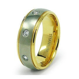 8mm Titanium Ring with CZ and Gold Plating (Sizes 6-12)