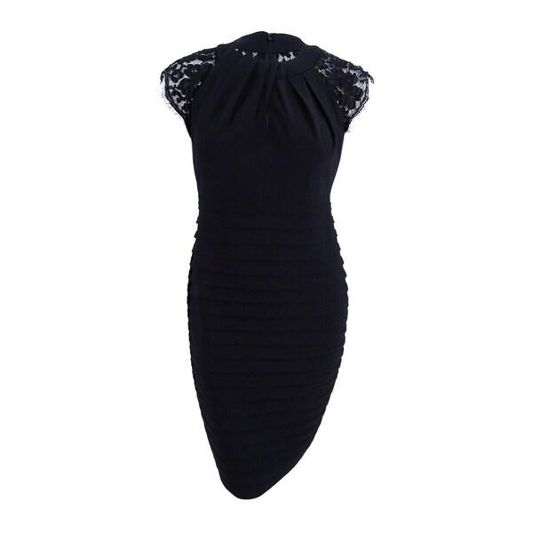 Shop Betsy & Adam Women\'s Plus Size Lace-Trim Pleated Dress (18W ...