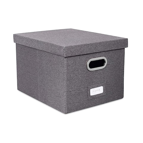Enova Home Large Collapsible Storage Bins with Cover (Dark Grey