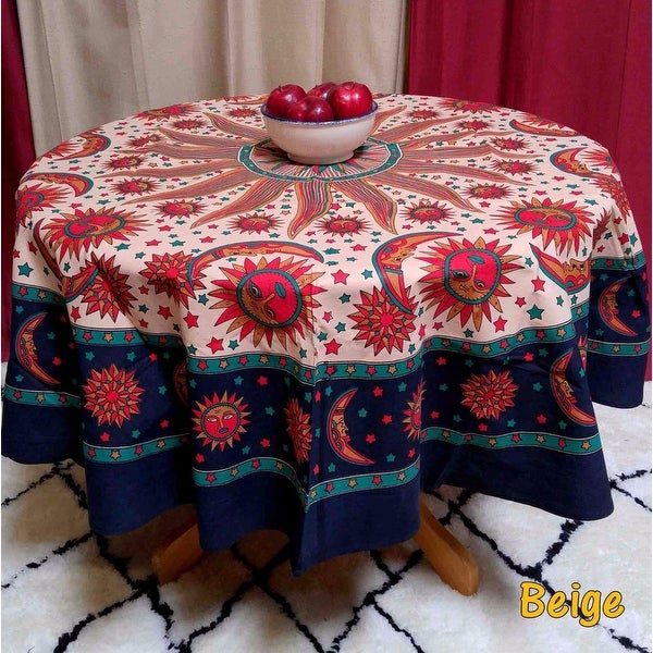 handmade 100 cotton celestial sun moon and star print tablecloth 72 inch round blue u0026 beige free shipping on orders over 45
