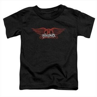 Aerosmith-Winged Logo - Short Sleeve Toddler Tee, Black - Small 2T