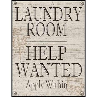 Laundry Room Help Wanted Poster Print by Lisa Wolk, 22 x 28 -