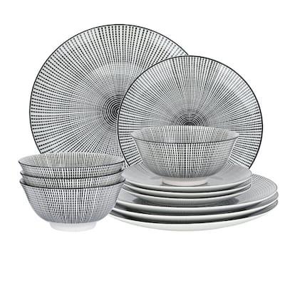 Black and White 12-piece Pad Printed Dinnerware Set
