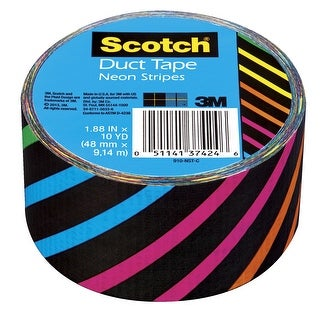 Scotch Duct Tape, 1.88 Inches x 10 Yards, Neon Stripes