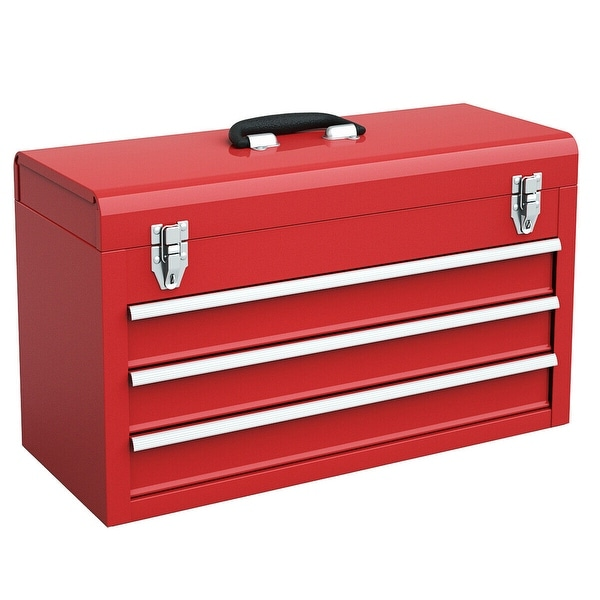 Portable Tool Chest Box Storage Cabinet Garage Mechanic Organizer 3 Drawers Red
