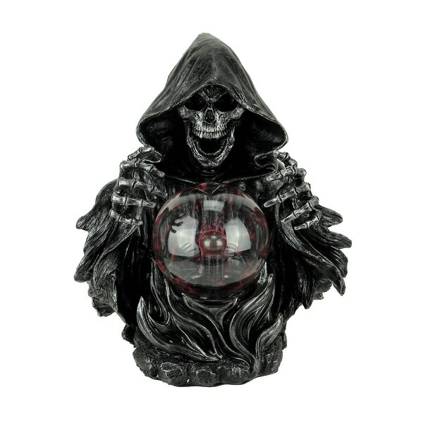 Seer of the Underworld Grim Reaper with Red Plasma Ball Statue - 11.25 X 8.75 X 6.5 inches