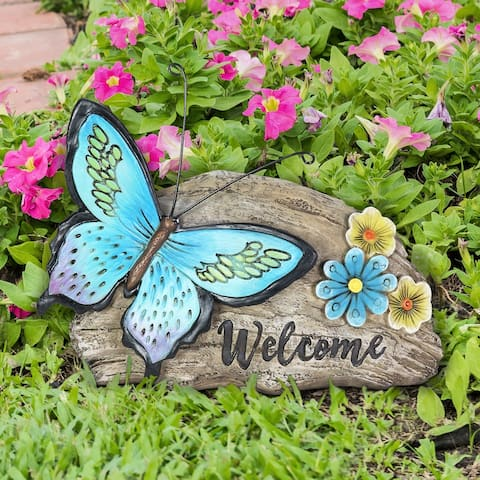 Exhart Welcome Blue Butterfly Hand Painted Garden Statuary, 11 by 8 Inch
