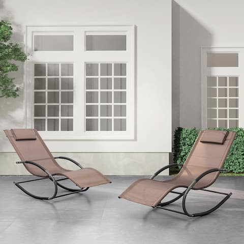 Patio Rocking Chairs Curved Rocker Chaise Lounge Chairs (Set of 2)