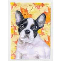 French Bulldog Black White Fall Flag - Canvas House Size