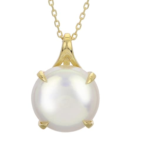 """PearLustre by Imperial 18"""" 14K Freshwater Coin Pearl Pendant"""