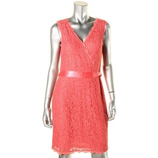 Adrianna Papell Womens Petites Cocktail Dress Lace Sleeveless