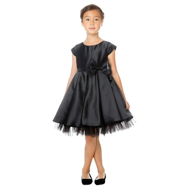 b55359b5330 Sweet Kids Little Girls Black Full Pleated Satin Bow Flower Girl Dress