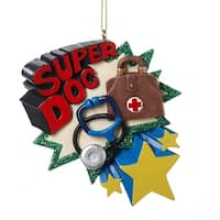 "Club Pack of 12 ""Super Doc"" Medical Doctor Holiday Christmas Ornaments 3.75"" - multi"