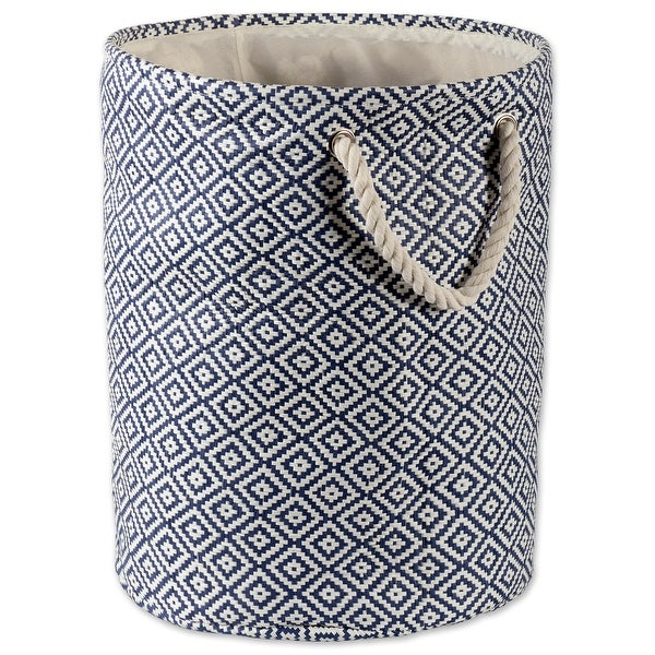 """20"""" Nautical Blue and Ivory Large Round Bin with Rope Handles - N/A"""