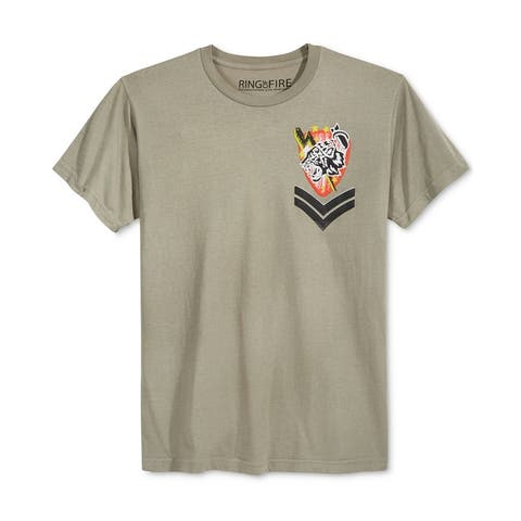Ring Of Fire Mens Tiger Bomb Squad Embellished T-Shirt