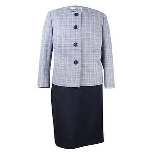 Le Suit Women's Plus Size Plaid 2PC Skirt Suit - 18W