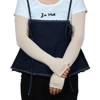 Ladies Biking Long Arm Sleeves Half Finger Sun Resistant Gloves Beige Pair