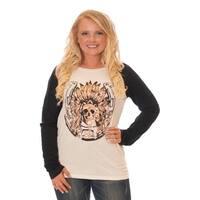 Cowgirl Tuff Western Shirt Womens Raglan Foil Print L/S Cream