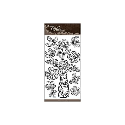 Wd008 best creation sticker wall decor 24 vase blk