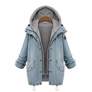 Plus Size Winter Women Warm Collar Hooded Coat