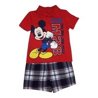 Little Boys Red Mickey Mouse Print Polo Shirt Plaid 2 Pc Shorts Outfit