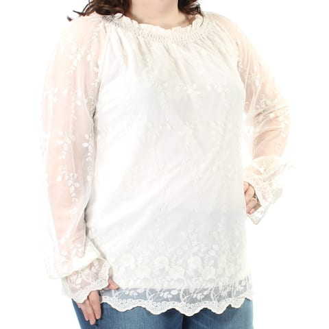 CHARTER CLUB Womens Ivory Lace Embroidered Long Sleeve Jewel Neck Formal Top Size: XXL