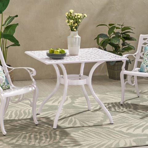 """Phoenix Traditional Outdoor Aluminum Square Dining Table by Christopher Knight Home - 37.00"""" W x 37.00"""" D x 29.53"""" H"""